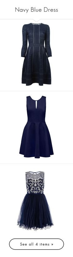 """Navy Blue Dress"" by biatsukase ❤ liked on Polyvore featuring dresses, blue, skater skirt, blue skater skirt, knit dress, victorian day dress, blue circle skirt, vestidos, robe and navy"