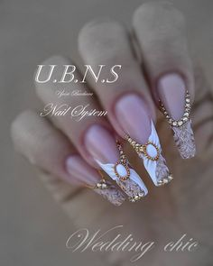 Beautiful nail art designs that are just too cute to resist. It's time to try out something new with your nail art. Dope Nails, Bling Nails, Glitter Nails, Fun Nails, Vintage Wedding Nails, Wedding Nails Design, Beautiful Nail Designs, Cool Nail Designs, Fabulous Nails