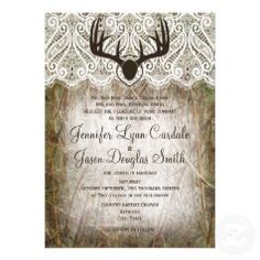 Camo and Deer Antlers Wedding Invitations - Rustic Country Wedding Invitations