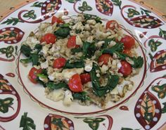 Tuscan Tofu Scramble Ingredients: 3 scallions, diced 1 chopped red bell pepper 1 medium tomato, chopped 2 cloves garlic, minced or pressed 2 cups firm tofu, drained and crumbled 1 T Dr. Fuhrman's MatoZest  1/2 tsp Mrs. Dash no salt seasoning 1 T nutritional yeast 1 tsp turmeric  5 ounces baby spinach, coarsely chopped 1 tsp Bragg Liquid Aminos Instructions: medium heat, sauté scallions, red pepper, tomato,  & garlic in 1/4 cup water for 5 minutes.  Add rest of ingredients and stir