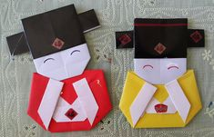 Origami Little Chinese Mammon by Jacky Chan Origami Star Box, Origami Love, Origami Folding, Origami Design, Origami Stars, Gato Origami, Origami Fish, Kimono Origami, Chinese New Year Decorations