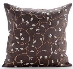 Brown Decorative Pillows Cover, 16x16 Cotton Linen Throw Pillows Cover, Square Beaded Leaves Garden Botanical Pillows Cover - Pearl Aroma ______________________________________________________________________________  The design Pearl Aroma has been conceptualized and created, keeping in mind the finest details and needs to decorate your beautiful abode. It is a perfect addition to enhance your living room, bedroom, guestroom or office. I promise it will give a WOW factor to you and your…
