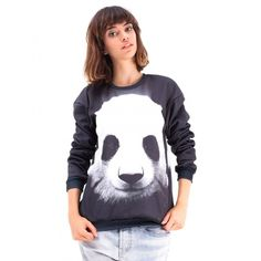 Mr. Gugu & Miss Go Black Panda Printed Polyester Sweatshirt (1.014.480 IDR) ❤ liked on Polyvore featuring tops, hoodies, sweatshirts, black, black sweat shirt, print sweatshirt, panda sweatshirt, black sweatshirt and patterned sweatshirts