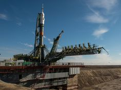 The Soyuz TMA-16M spacecraft is seen after having rolled out by train to the launch pad at the Baikonur Cosmodrome, Kazakhstan, Wednesday, March 25, 2015. NASA Astronaut Scott Kelly, and Russian Cosmonauts Mikhail Kornienko, and Gennady Padalka of the Russian Federal Space Agency (Roscosmos) are scheduled to launch to the International Space Station in the Soyuz TMA-16M