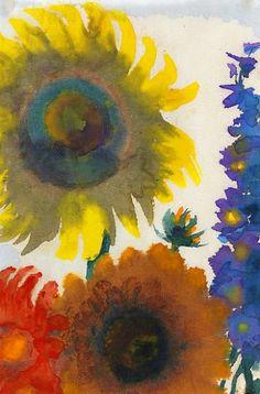 Emil Nolde Sunflowers and Delphinium 1935