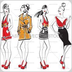 A vector fashion illustration of ladies in stylish clothes - red shorts, trench coat, striped skirt, pencil skirt ®Yordanka Poleganova