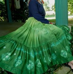 Bohemian Full Circle Silk Skirt Handmade and Dyed by 1000Colors, $145.00