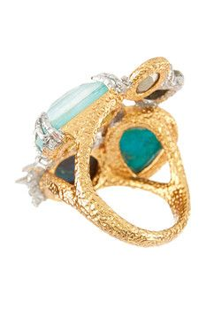 Alexis Bittar Crystal Studded Spur Trimmed Multi Stone Cocktail Ring - Size 7