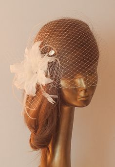 WEDDING BRIDAL Unique Ivory BIRDCAGE VEIL with Amazing Flower by ancoraboutique, $125.00