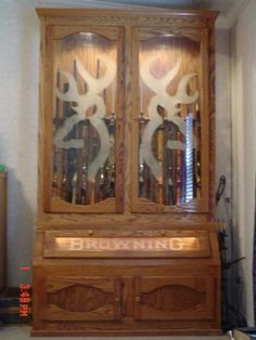 Browning Buckmark wooden gun cabinet
