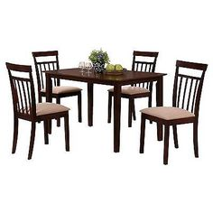 Sets 98478: 5 Piece Samuel Dining Set Wood Espresso   Acme  U003e BUY IT