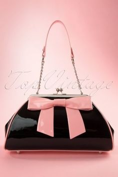 Pinup Couture Bow Handbag Pink and Black 212 10 11930 20140213 Vintage Purses, Vintage Bags, Vintage Handbags, Vintage Outfits, Vintage Shoes, Handbags On Sale, Luxury Handbags, Purses And Handbags, Leather Handbags
