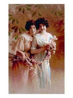 Women Holding Flowers, 1890s Premium Poster at Art.com