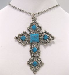 Vintage Cross Necklace 1960s FauxTurquoise by mindfulresource, $18.00
