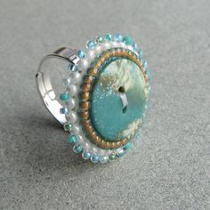 Beaded button ring.