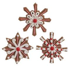 "RAZ Cookie Candy Snowflake Christmas Ornament Set of 3  3 Asst Brown/White/Red Made of Clay Dough Measures 4"" For Decorative Use Only  RAZ *Cookie Confections* Collection"