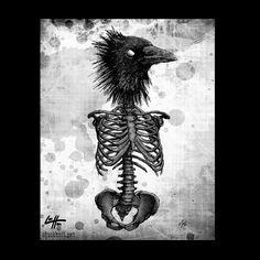 Print 8x10  The Raven  Skeleton Skull Bird Dark Art by chuckhodi