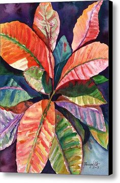 Colorful Tropical Leaves 1 Canvas Print / Canvas Art By Marionette Taboniar