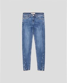 Image 8 of SKINNY JEANS WITH PEARL BEADS from Zara