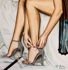 Jordan Shoes custom shoes, shoes that can kill you, shoes rack organizer, shoes 5 pounds uk, curry s Drawing High Heels, Feet Drawing, Sexy Drawings, Art Drawings, Fashion Sketches, Art Sketches, Fashion Wall Art, Shoe Art, Prismacolor