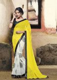 Yellow and White Color Wrinkle Chiffon Party Sarees : Rosa Collection | YellowFashion.in