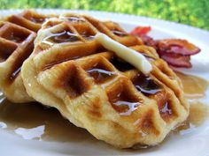 canned biscuits cooked on a waffle maker!