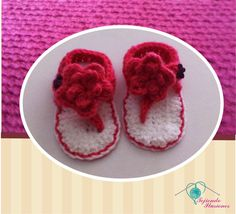 Modelo Nº 82: Sandalias Flores, Hermosas sandalias para bebe tejidas a mano #crochet #zapatos #bebe #tejido