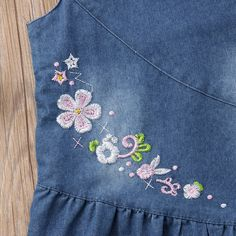 Blue Floral Denim Button Dress from kidspetite.com! Adorable & affordable baby, toddler & kids clothing. Shop from one of the best providers of children apparel at Kids Petite. FREE Worldwide Shipping to over 230+ countries ✈️ www.kidspetite.com #dresses #toddler #girl #clothing