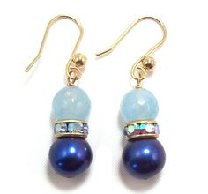 Blue Freshwater Pearl & Blue Quartz Crystal & Swarovski Crystal Earrings by Sleepless Art