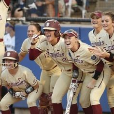 June 5, 2018 - NCAA Women Series Game 2-Florida State softball wins first Women's College World Series in two-game sweep over Washington Softball Uniforms, Softball Shirts, Girls Softball, Softball Cheers, Softball Stuff, Baseball Mom, Baseball Field, Softball Workouts, Softball Drills