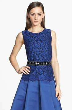 St. John Collection Sleeveless Lace A-Line Blouse available at #Nordstrom