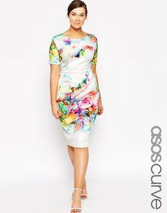 ASOS CURVE Placed Digital Floral Print Scuba Body-Conscious Dress