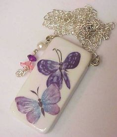 Lavender Butterfly Domino Necklace by noahsarkcollection on Etsy, $10.00