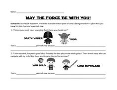 Fun, engaging way to reiterate point of view with your third grade students. These Star Wars themed worksheets are sure to be a hit!NO Star Wars knowledge necessary for teacher or student to complete: simply use the included character cards and your students will be right on their way!Your purchase includes two point of view worksheets and six color character cards (Han Solo, Darth Vader, Luke Skywalker, Princess Leia, Chewbacca, and Yoda).Great for an ELA center!Perfect for grades 3 - 5!