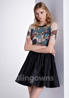 Jewel Dacron Tulle Zipper A-line Short  Length Black Short Sleeves Beads  Homecoming / Prom Dresses