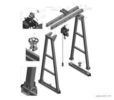 10tons Gantry Crane 3D drawings papacad.com Crane Drawing, Technical Documentation, Crane Design, Autodesk Inventor, Gantry Crane, 3d Cad Models, 3d Drawings, Technical Drawing, Autocad
