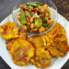 My breakfast nicer than yours!! (for the. Americans) Codfish Okras and Lima Beans with Tostones. (for the yardies) Saltfish Okra and Butter Beans with fry Plantains!!! #bigchef #yardiebellyTV #jamaicancomediansthope #healtyeating #jamaicanfood #fusion by jamaican_comedian_st.hope