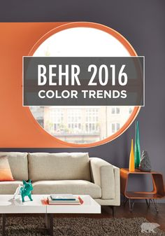 Transform your home into the updated space you crave by checking out the 2016 BEHR Color Trends. Whether you opt for colorful jewel tones or sophisticated neutrals, your home is sure to represent your unique, personal style. | Featured hues: Raw Copper and Charcoal Plum.