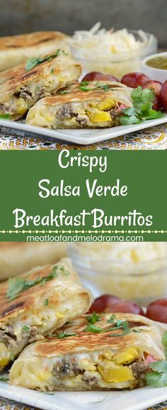 Crispy Salsa Verde Breakfast Burritos - Filled with scrambled eggs, sausage, pepper jack cheese and green tomatillo sauce, these freezer friendly wraps are easy to make and perfect for a grab and go breakfast or brunch anytime! #grabandgobreakfast Meatloaf and Melodrama