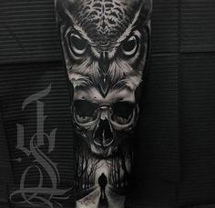 Owl Scull Creepy Horror Tattoo