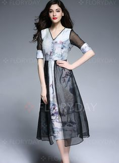 Dresses - $72.63 - Silk Floral Short Sleeve Mid-Calf Vintage Dresses (1955100426)
