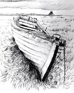 Boats and harbours 2 - Pen and ink. Glyn Overton