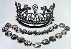 "The third Spencer Tiara formerly belonged to Marie Antoinette. It is pictured here with the Sutherland necklace. (The Sutherlands are a branch of the Spencer family who are also associated with the Churchill""s and the Dukes of Marlborough. Thery""re all the same family.) The Sutherland necklace is comprised of 17 of the largest diamonds from a necklace that was owned by Marie Antoinette AND is the necklace that helped spark the French Revolution."