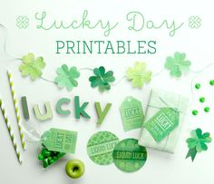 FREE St Patrick's Day Printables! Four Leaf Clover Brooches, toppers, banners, garlands, drink labels and gift tags! On Kara's Party Ideas by Tinyme! KarasPartyIdeas.com