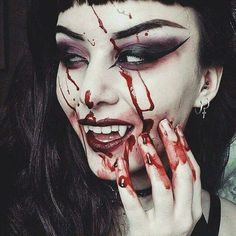 Halloween vampire makeup. Are you looking for the most scary Halloween makeup Halloween costume diy ideas to look the best at the party? See our photo collage to pick the one that fits the costume.