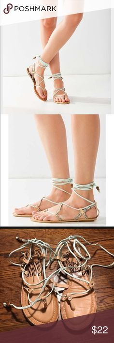 Dolce vita karma sandal Adorable turquoise karma dolce vita gladiator sandal. Worn once. Small cheetah detail. Beaded leather ties. Dolce vita - posted as free people for exposure. Great condition. Free People Shoes Sandals
