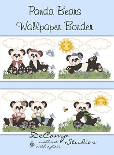 Panda Bear wallpaper border wall decals for baby girl or boy nursery or children's bedroom decor #decampstudios
