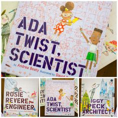Don't miss Ada Twist Scientist by Andrea Beaty or her other books Rosie Revere, Engineer and Iggy Peck, Architect. These stem books for kids are the perfect inspiration for careers in math and science. What neat gift ideas for kids!