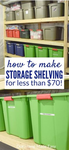 Organize your totes with this DIY storage shelving! And make them for a budget p. Organize your to Basement Storage Shelves, Laundry Room Storage, Closet Storage, Built In Storage, Storage Shelving, Storage Ideas, Easy Shelves, Attic Storage, Kitchen Storage