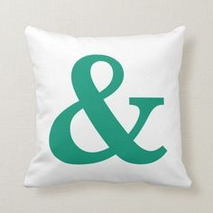 Shop Trendy Emerald Green Ampersand Typography Throw Pillow created by ThrowPillowNest. Lime Green Cushions, Green Throw Pillows, Diy Pillows, Custom Pillows, Decorative Throw Pillows, Ampersand Sign, Diy Pillow Covers, Green Home Decor, Personalized Pillows
